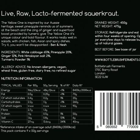 Raw & Lacto-Fermented Sauerkraut | Pineapple, Ginger & Turmeric (500g)