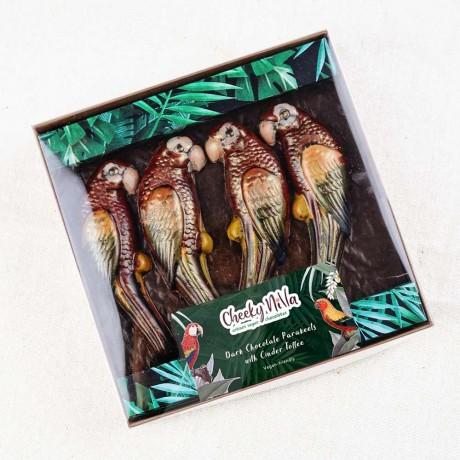 4 Hand-painted Chocolate Ara Macaws