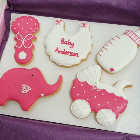 New Baby Personalised Biscuit Set