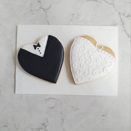 Wedding Biscuit Set - Tux & White Dress