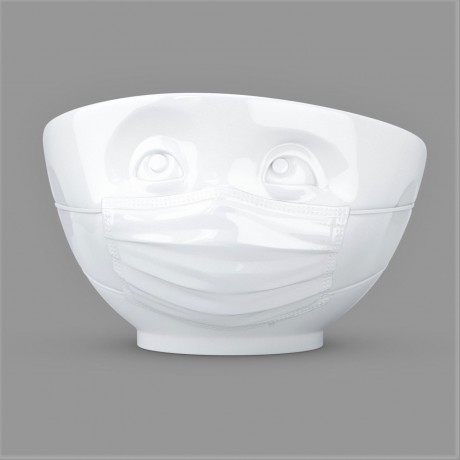 Front view of the 500ml 'Hopeful' white bowl
