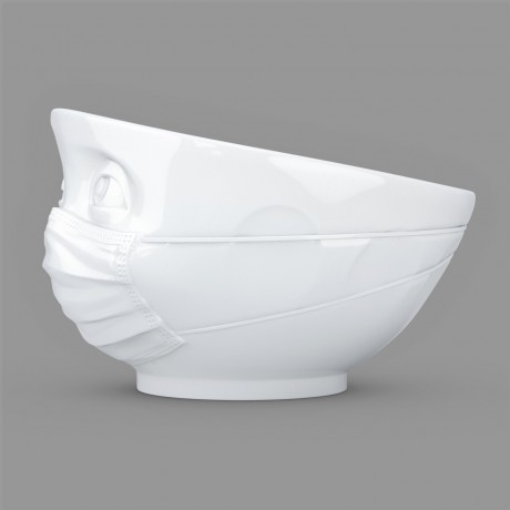 Side view of the 500ml white porcelain 'Hopeful' bowl