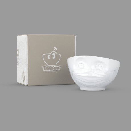 A white porcelain bowl with a 'Hopeful' expression with its gift box