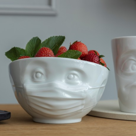 The white porcelain 'Hopeful' bowl full of strawberries