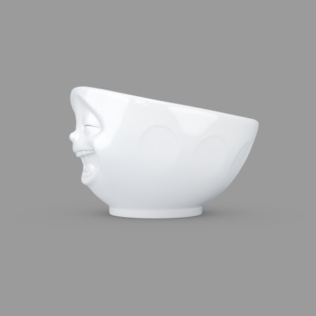 A white porcelain bowl with a 'Laughing' expression side view