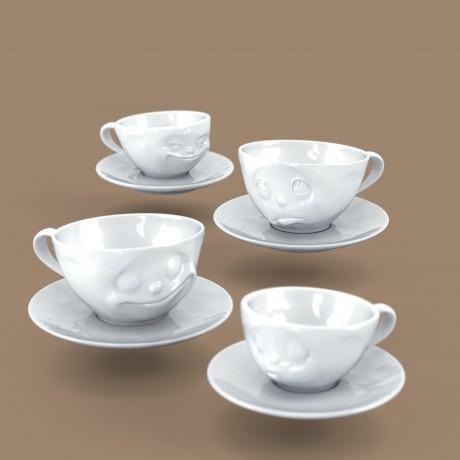 arrangement of four espresso cup designs