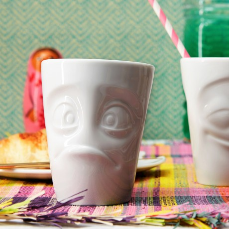 White porcelain 'Baffled' Mug with handle
