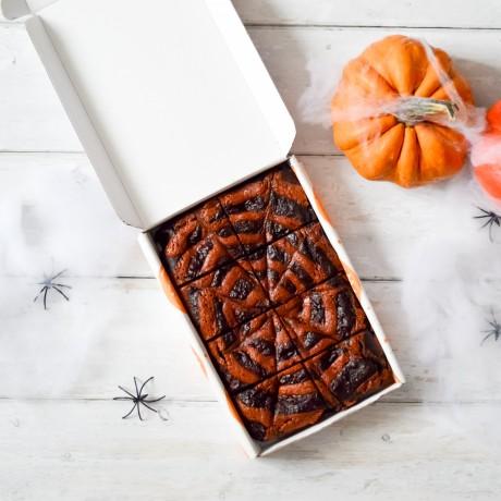 Halloween Spider Web Caramel Double Chocolate Avocado Brownies | Vegan and Refined Sugar Free (Serves 8)